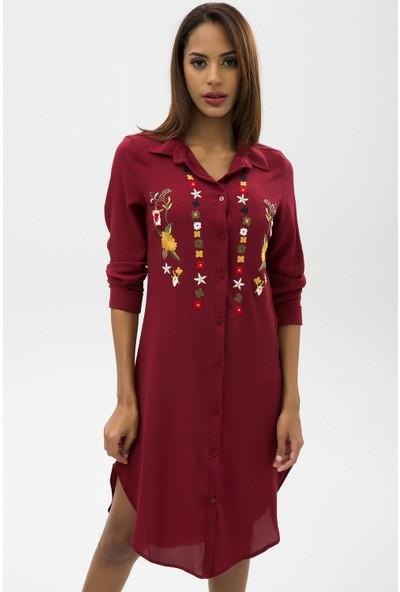 New Laviva Bordo Kadın İşlemeli Kısa Gömlek Elbise