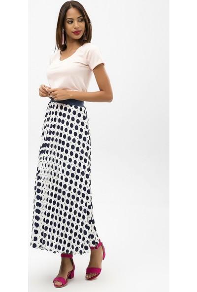 New Laviva Lacivert Kadın Puantiye Desenli Uzun Etek