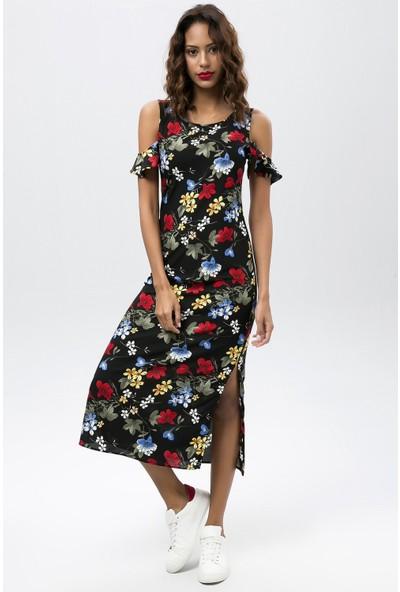 New Laviva Siyah Kadın Askılı Omuz Dekolteli Çiçekli Uzun Elbise