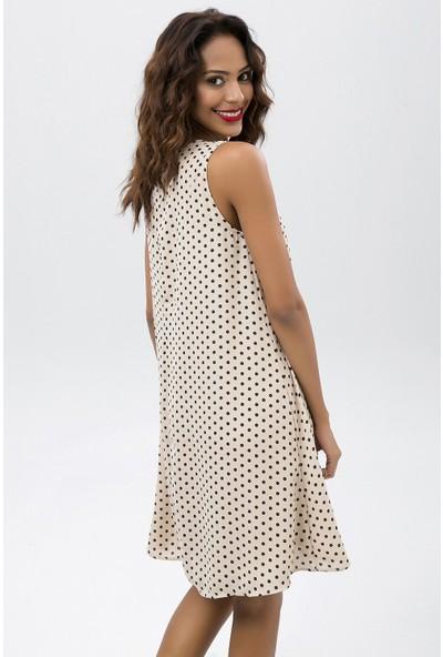 New Laviva Vizon Kadın Puantiye Desenli Kolsuz Kısa Elbise