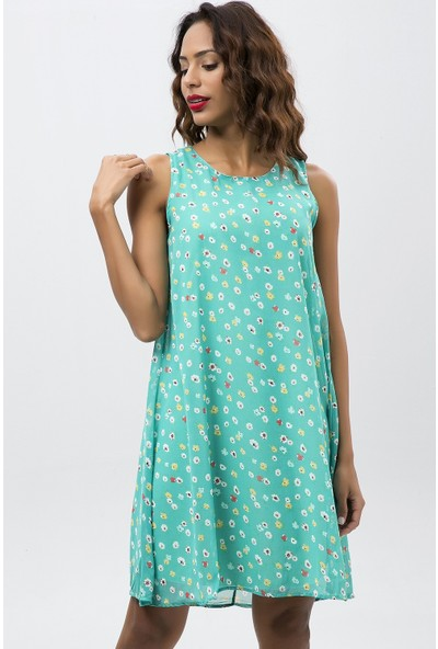 New Laviva Mint Kadın Çiçek Desenli Kolsuz Kısa Şifon Elbise