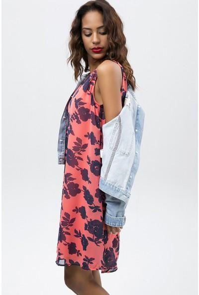 New Laviva Mercan Kadın Çiçek Desenli Kolsuz Şifon Elbise