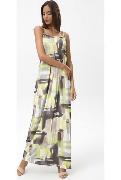 New Laviva Gri Kadın Askılı Desenli Uzun Elbise