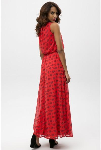 New Laviva Kırmızı Kadın Kolsuz Desenli Uzun Elbise
