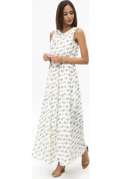 New Laviva Ekru Kadın Kolsuz Desenli Uzun Elbise