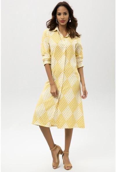 New Laviva Sarı Kadın Desenli Midi Gömlek Elbise