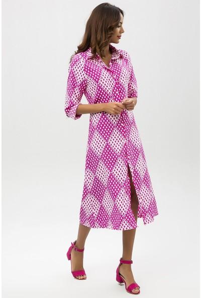 New Laviva Mürdüm Kadın Desenli Midi Gömlek Elbise