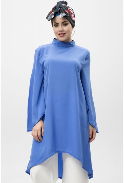 New Laviva Mavi Kadın Asimetrik Uzun Kol Elbise