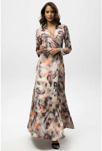 New Laviva Kahverengi Kadın Leopar Desenli Anvelop Uzun Elbise