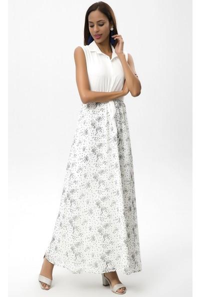 New Laviva Ekru Kadın Kolsuz Çiçekli Uzun Elbise