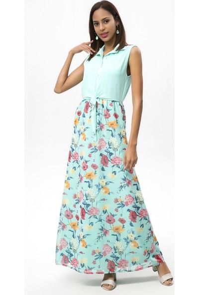 New Laviva Mint Kadın Kolsuz Çiçekli Uzun Elbise