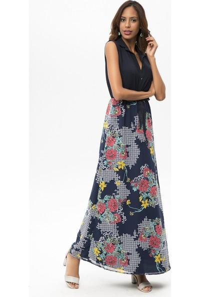 New Laviva Lacivert Kadın Kolsuz Çiçekli Uzun Elbise