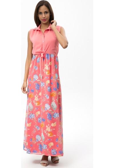 New Laviva Narçiceği Kadın Kolsuz Çiçekli Uzun Elbise