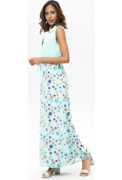 New Laviva Mint Kadın Kolsuz Puantiye Uzun Elbise