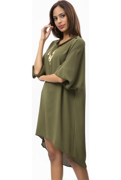 New Laviva Haki Kadın Asitmetrik Kısa Elbise