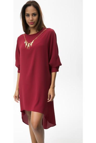New Laviva Bordo Kadın Asitmetrik Kısa Elbise