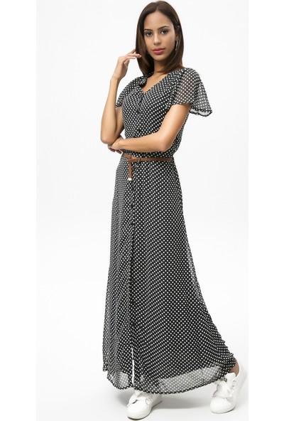 New Laviva Siyah Kadın Uzun Elbise