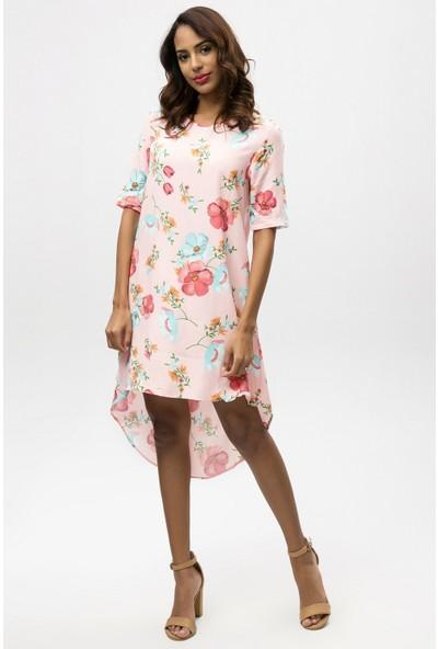 New Laviva Pembe Kadın Asimetrik Elbise