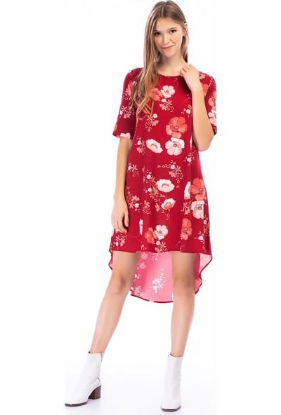 New Laviva Bordo Kadın Asimetrik Elbise