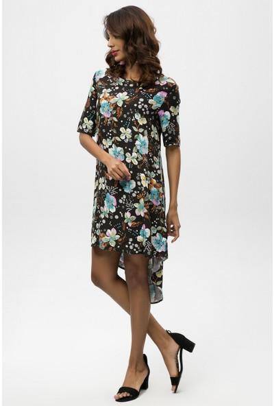 New Laviva Siyah Kadın Asimetrik Elbise