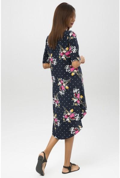 New Laviva Lacivert Kadın Asimetrik Elbise