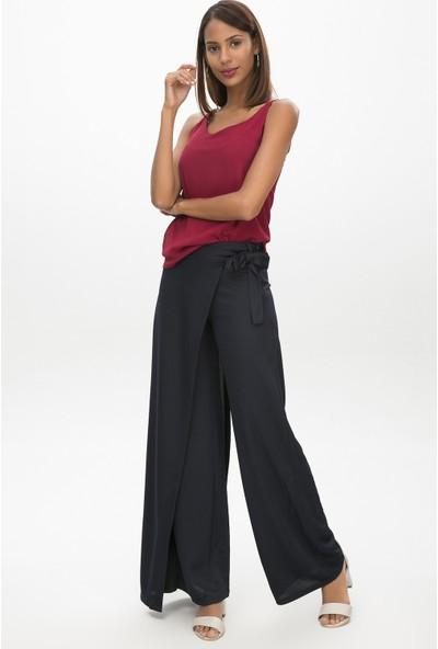 New Laviva Lacivert Kadın Anvelop Bağcıklı Salaş Pantolon