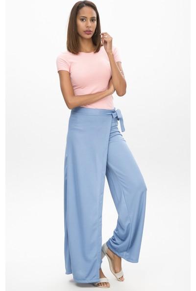 New Laviva Mavi Kadın Anvelop Bağcıklı Salaş Pantolon