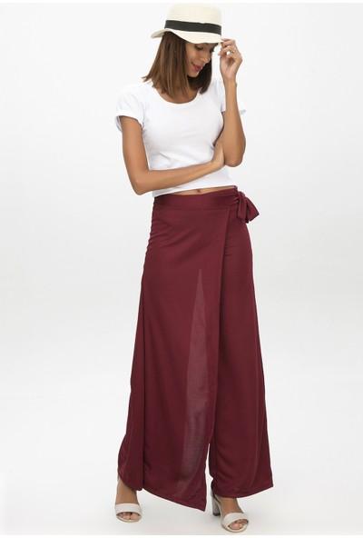 New Laviva Bordo Kadın Anvelop Bağcıklı Salaş Pantolon