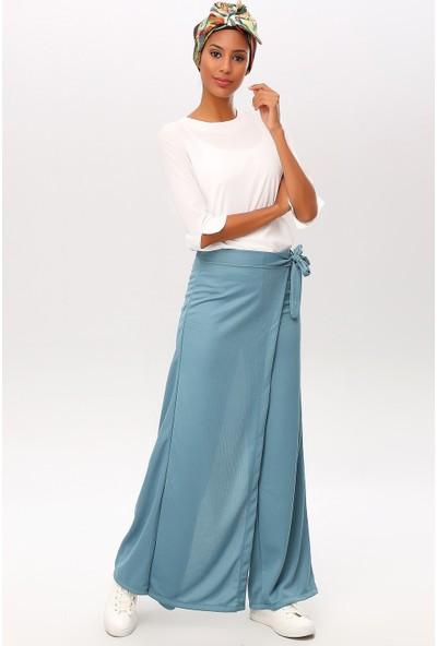New Laviva Mint Kadın Anvelop Bağcıklı Salaş Pantolon