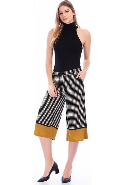 New Laviva Siyah Kadın Kareli Bol Kesim Pantolon