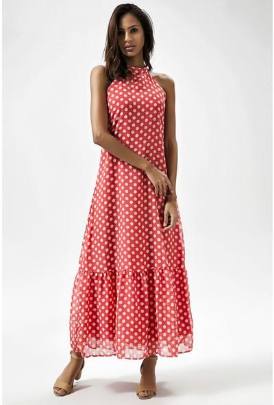 New Laviva Kırmızı Kadın Kolsuz Uzun Elbise