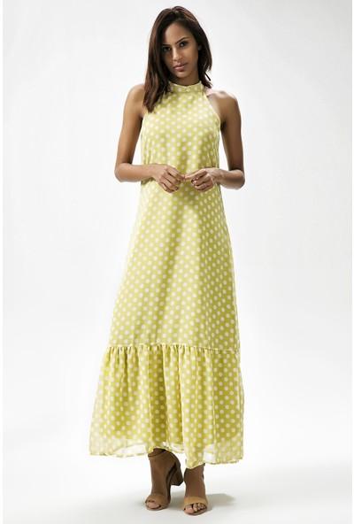 New Laviva Fıstık Yeşili Kadın Kolsuz Uzun Puantiye Elbise