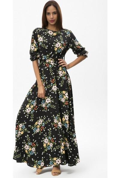 New Laviva Siyah Kadın Çiçekli Uzun Elbise