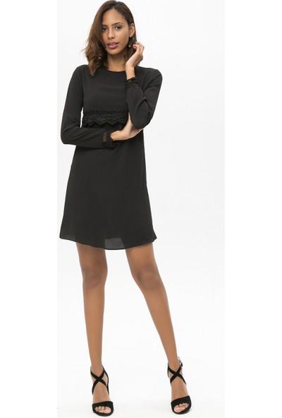 New Laviva Siyah Kadın Uzun Kollu Dantelli Kısa Elbise