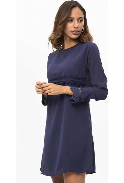 New Laviva Lacivert Kadın Uzun Kollu Dantelli Kısa Elbise