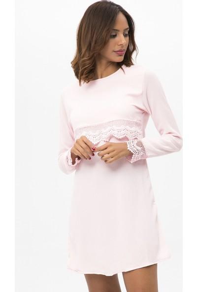 New Laviva Pudra Kadın Uzun Kollu Dantelli Kısa Elbise