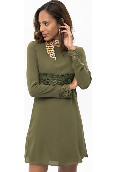 New Laviva Haki Kadın Uzun Kollu Dantelli Kısa Elbise