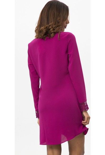 New Laviva Mürdüm Kadın Uzun Kollu Dantelli Kısa Elbise