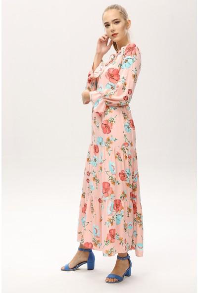 New Laviva Pembe Kadın Çiçek Desenli Uzun Elbise