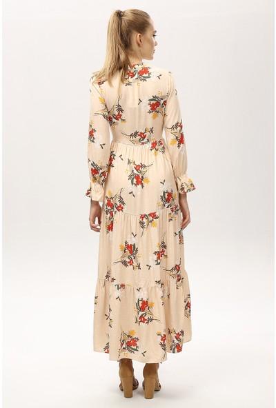 New Laviva Krem Kadın Çiçek Desenli Uzun Elbise