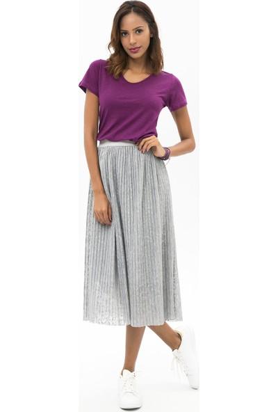 New Laviva Kahverengi Kadın Pileli Uzun Etek