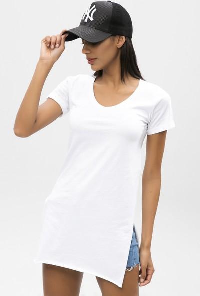 New Laviva Beyaz Kadın Uzun T-Shirt