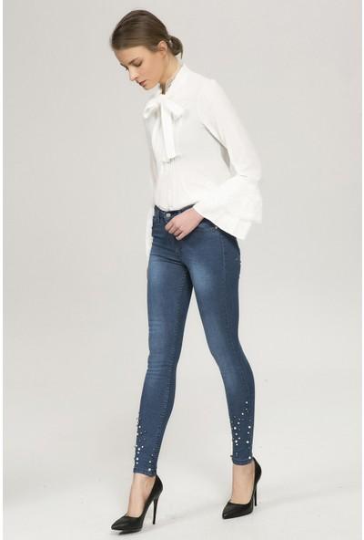 New Laviva Mavi Kadın Slim Dar Düşük Bel Taş İşlemeli Kot Pantolon