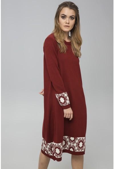 New Laviva Kiremit Kadın Garnili Salaş Triko Elbise