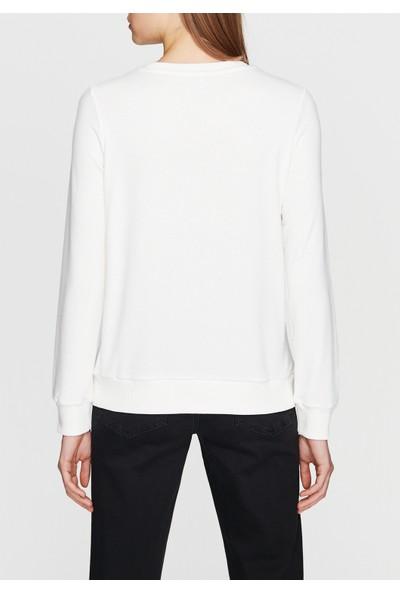 Mavi Darlin Baskılı Beyaz Sweatshirt