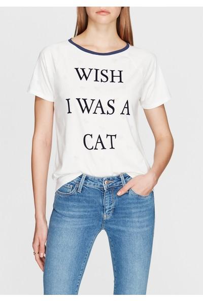Wish I Was A Cat Baskılı Beyaz Tişört 167650-28289