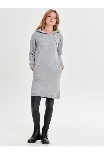 Only Only 15158605 Kadın Onllola L/S Hood Dress Cc Swt Elbise Medium Grey Melange