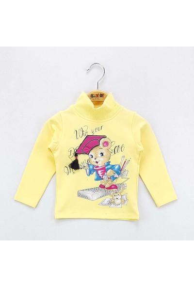 Toontoy Kız Çocuk Sweatshirt Şapka Nakış Balıkçı Yaka İçi Şardonlu