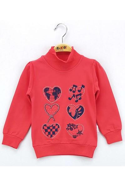 Toontoy Kız Çocuk Sweatshirt Kalp Nakış Balıkçı Yaka İçi Şardonlu