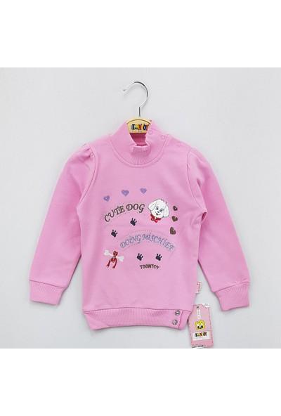 Toontoy Kız Çocuk Sweatshirt Cute Dog Nakış Balıkçı Nakış İçi Şardon